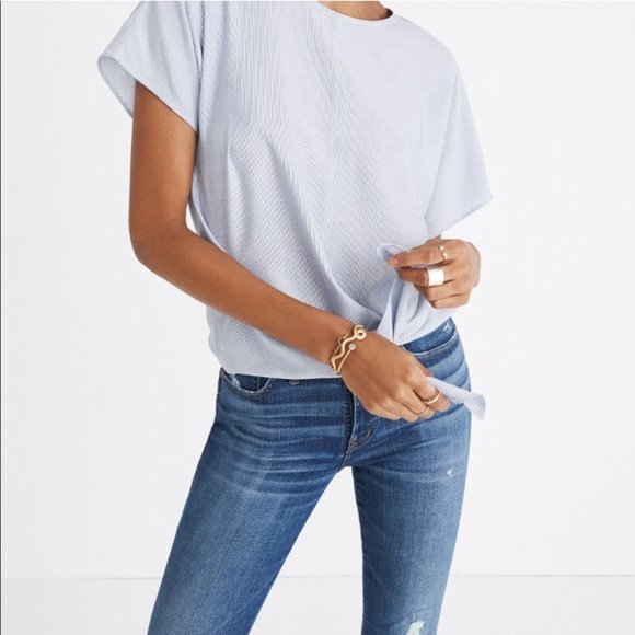 b9ddf259af Madewell Tops | Buttonback Tie Tee In Stripe | Poshmark